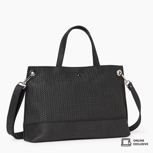 Roots-Leather Crossbody-Edie Tote Woven-Jet Black-A