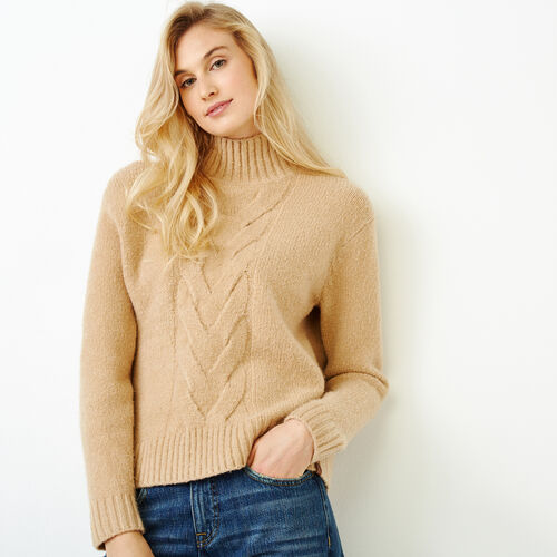 Roots-Women Tops-Nita Cable Sweater-Camel-A
