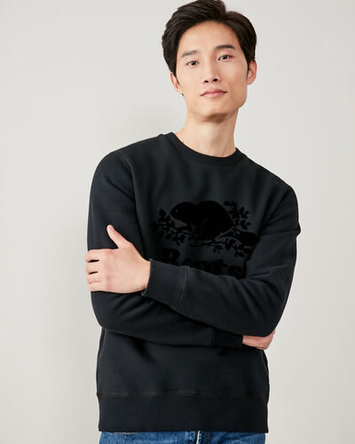 Roots-Men Sweatshirts & Hoodies-Tonal Cooper Beaver Crew Sweatshirt-Black-A