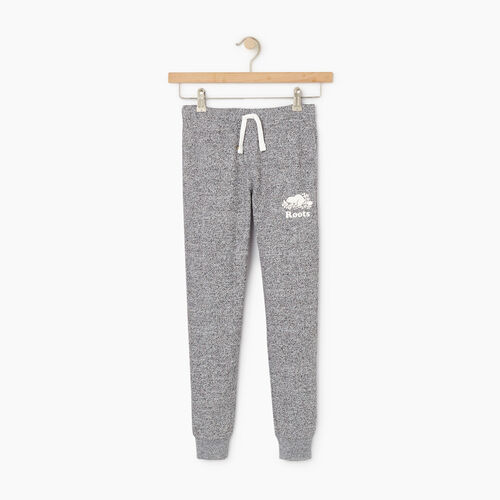 Roots-Kids Bottoms-Girls Slim Cuff Sweatpant-Salt & Pepper-A