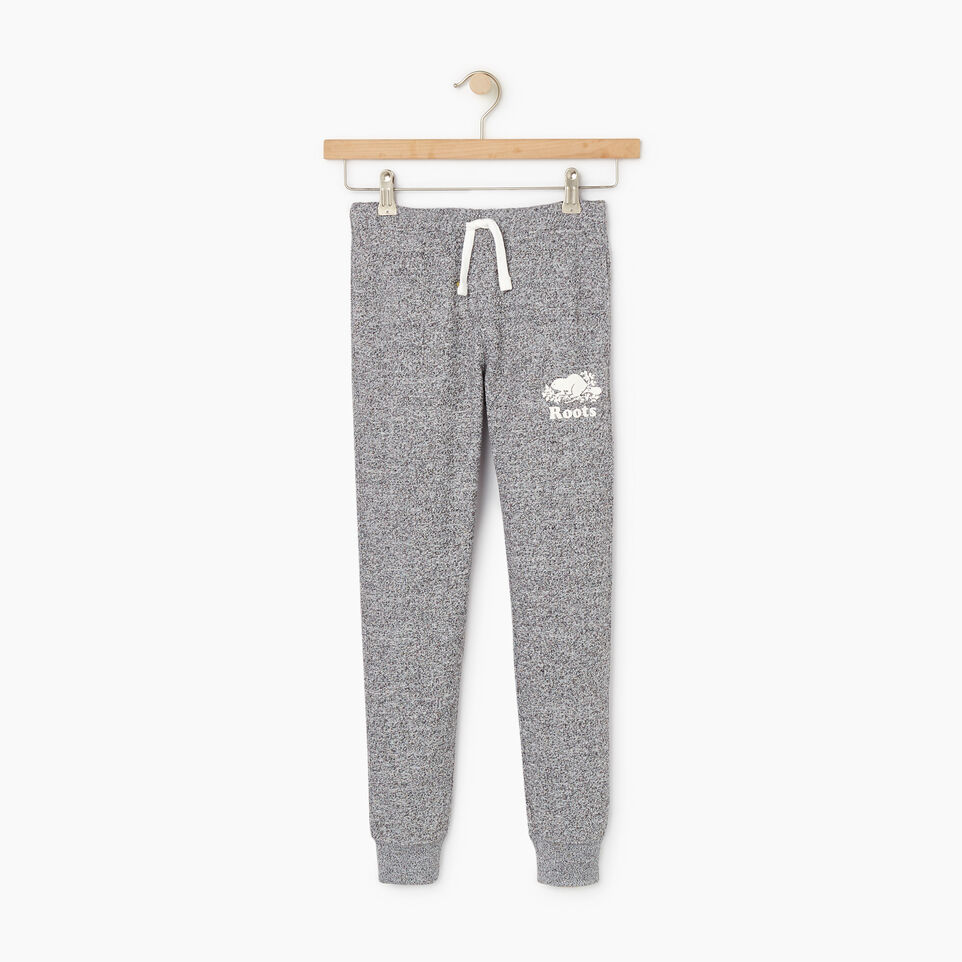 Roots-Kids New Arrivals-Girls Slim Cuff Sweatpant-Salt & Pepper-A