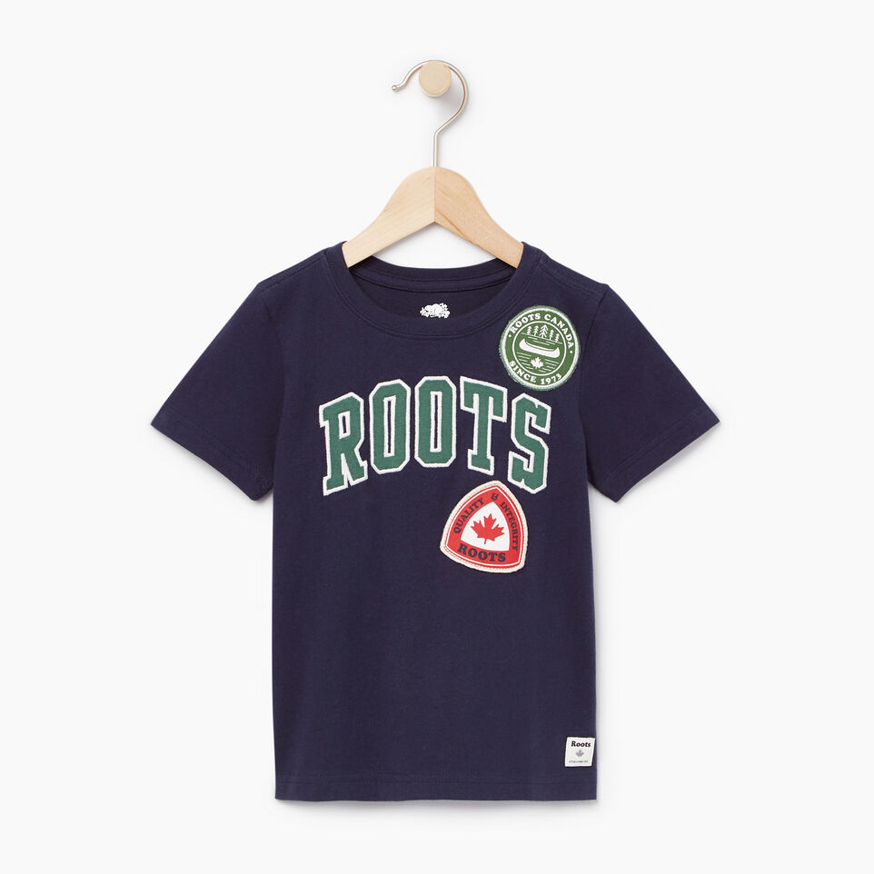 Roots-Kids Our Favourite New Arrivals-Toddler Roots Patches T-shirt-Navy Blazer-A