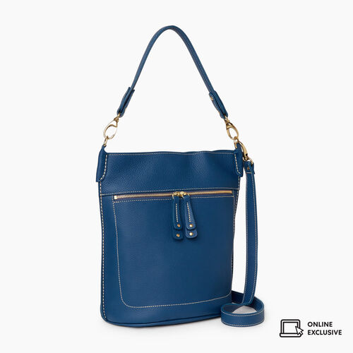 Roots-Leather Crossbody-French Bucket Parisian-Insignia Blue-A