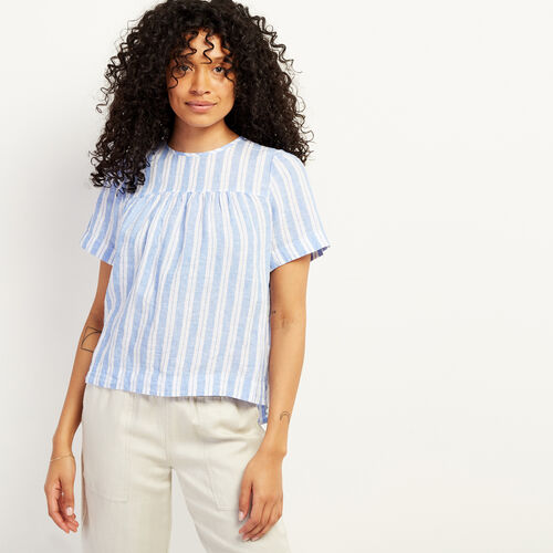 Roots-Women Clothing-Marley Frill Top-Blue Yonder-A