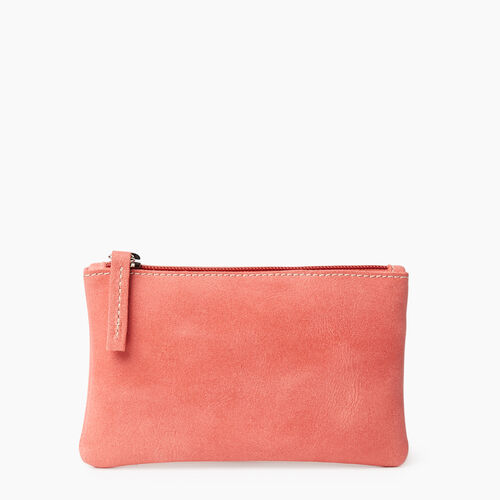 Roots-Leather New Arrivals-Medium Zip Pouch-Coral-A
