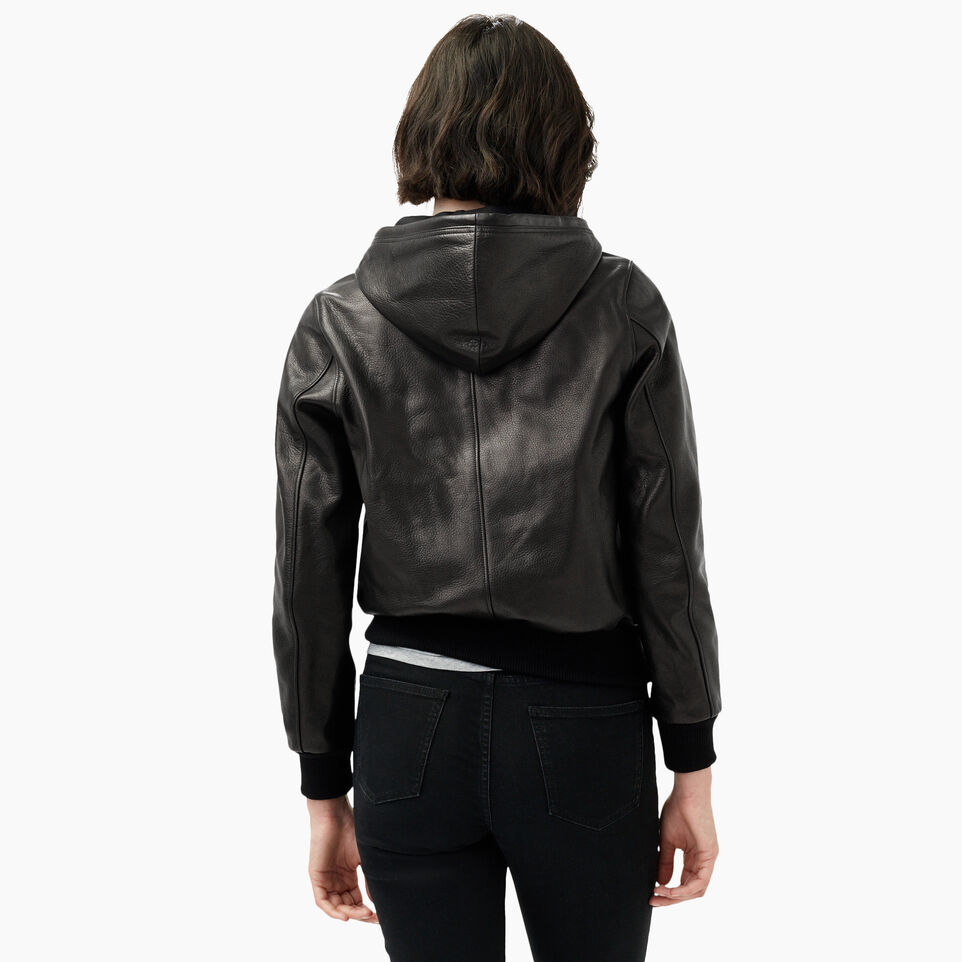 Roots-Leather Leather Jackets-Alex Hoody Lamba-Black-D