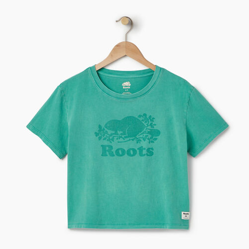 Roots-Women Graphic T-shirts-Womens Sunkissed T-shirt-Sea Green-A