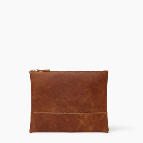 Roots-Leather Collections-Junction Pouch-Natural-A