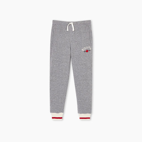 Roots-Kids Bottoms-Girls Cabin Cozy Sweatpant-Salt & Pepper-A