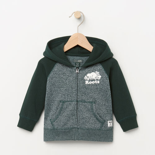 Roots-Clearance Baby-Baby Original Full Zip Hoody-Varsity Green Pepper-A