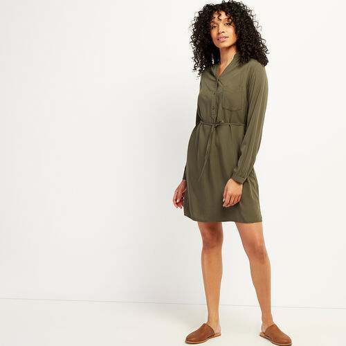 Roots-Women Dresses & Jumpsuits-Rosetown Rayon Dress-Fatigue-A