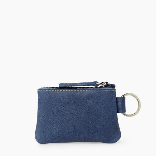 Roots-Leather Leather Accessories-Top Zip Pouch Tribe-Denim Blue-A