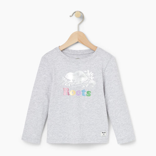 Roots-Winter Sale Toddler-Toddler Foil Cooper Beaver T-shirt-Snowy Ice Mix-A