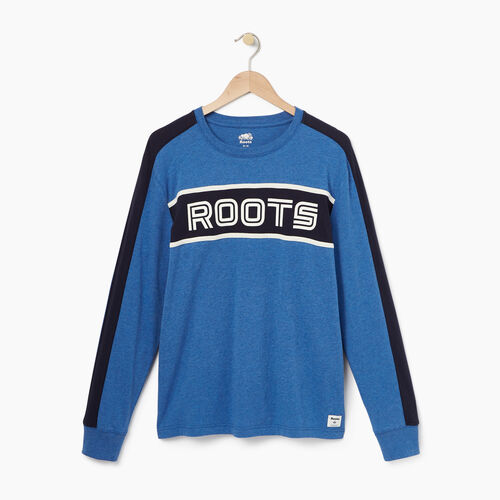 Roots-Winter Sale Tops-Mens Sport Long Sleeve  T-shirt-Active Blue Mix-A