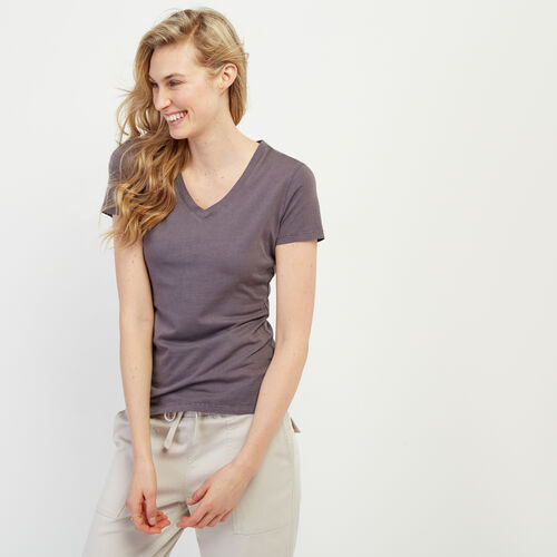 Roots-Women Our Favourite New Arrivals-Essential Slim  V-neck T-shirt-Shale-A