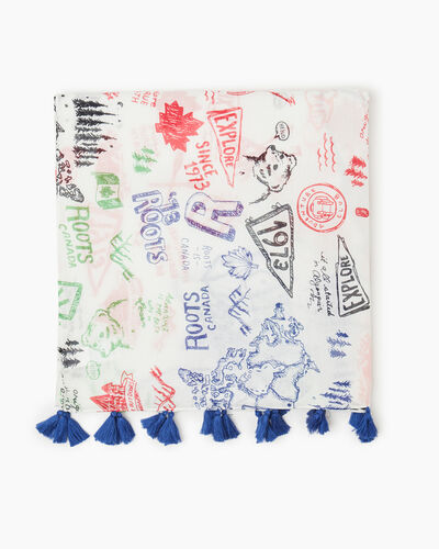 Roots-Women Accessories-Roots Flag Scribble Scarf-Egret-A