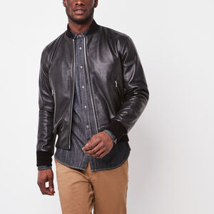 Roots-Men Leather Jackets-Mens Commander Jacket Lake-Black-A