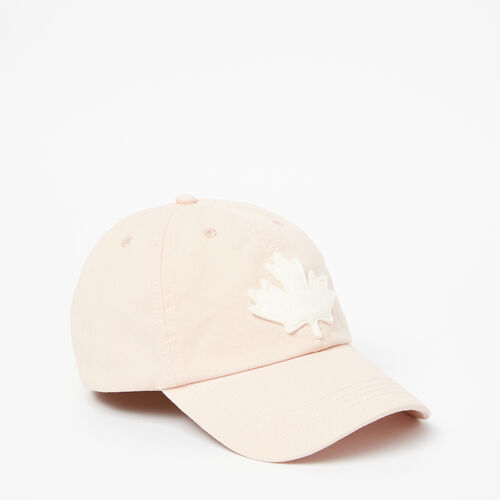 Roots-Women Accessories-Canada Leaf Baseball Cap-Pale Blush-A