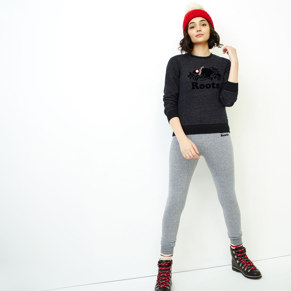Roots-Women Tops-Buddy Cozy Crew Sweatshirt-Black Pepper-B