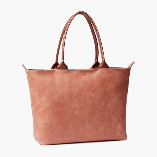 Roots-Leather  Handcrafted By Us Handbags-Mont Royal Tote-Canyon Rose/oak-A