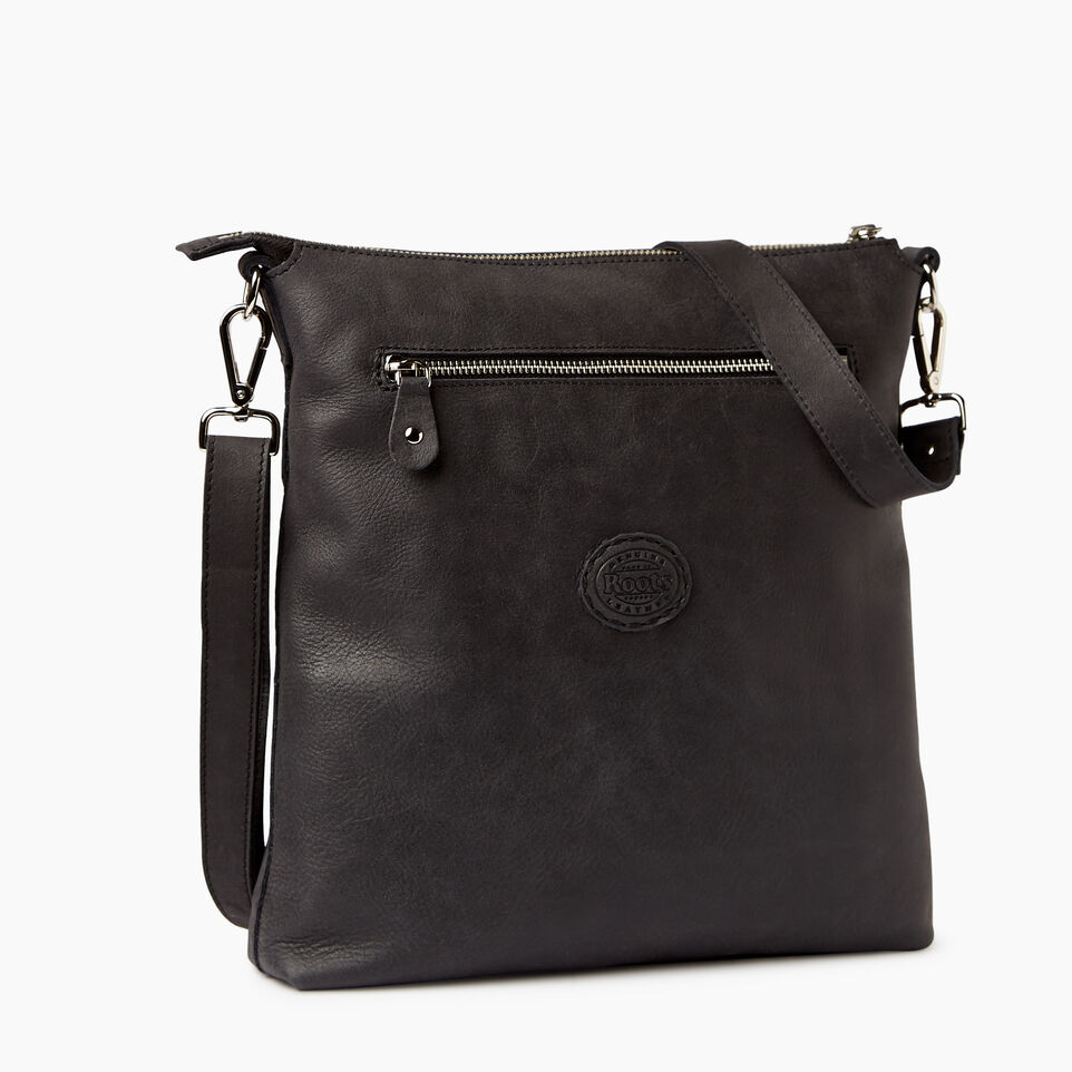 Roots-Leather  Handcrafted By Us Handbags-Canadian Villager-Jet Black-C