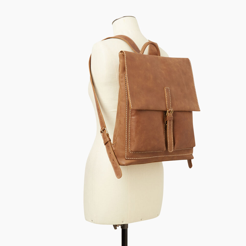 Roots-Women Leather-Raiders Pack Tribe-Natural-B