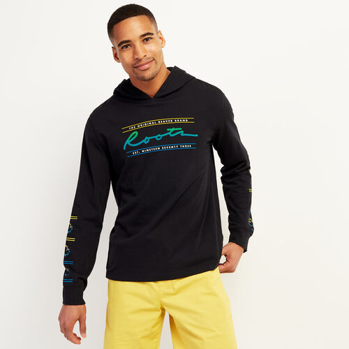 Roots-Men New Arrivals-Mens Porpoise Jersey Hoody T-shirt-Black-A