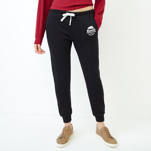 Roots-Women Sweatpants-Laurel Slim Cuff Sweatpant-Black Mix-A