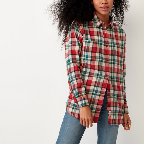 Roots-Women Categories-Brookside Flannel Shirt-Sage Red-A