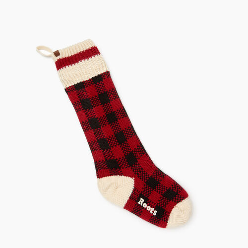Roots-New For November General Store-Park Plaid Stocking-Cabin Red-A