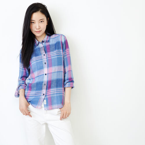 Roots-Women Tops-Relaxed Plaid Shirt-Orchid Bouquet-A