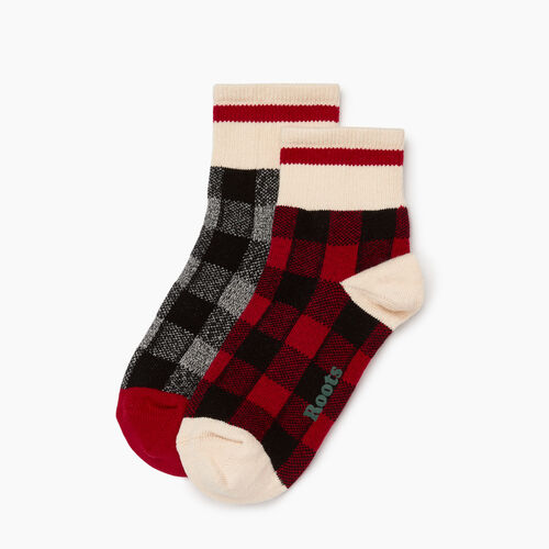 Roots-Women Socks-Park Plaid Ankle Sock 2 Pack-Cabin Red-A