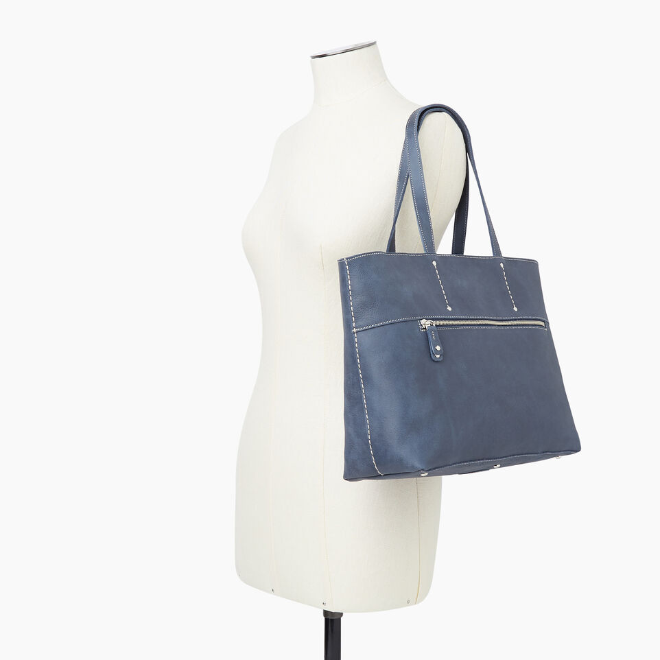 Roots-Leather Categories-Westmount Tote Tribe-Navy-B