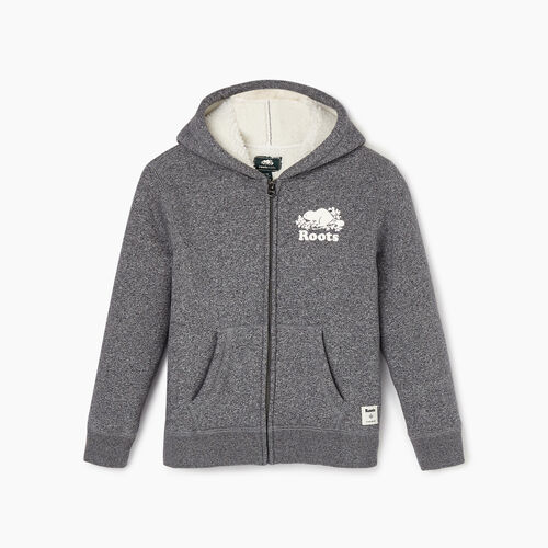 Roots-New For November Kids-Girls Sherpa Lined Full Zip Hoody-Salt & Pepper-A