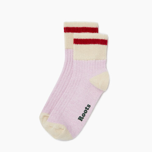 Roots-Women Socks-Womens Cotton Cabin Ankle Sock 2 pack-Pink Mist-A