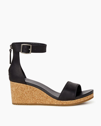 Roots-Footwear Sandals-Womens Cranston Ankle Strap Wedge-Black-A