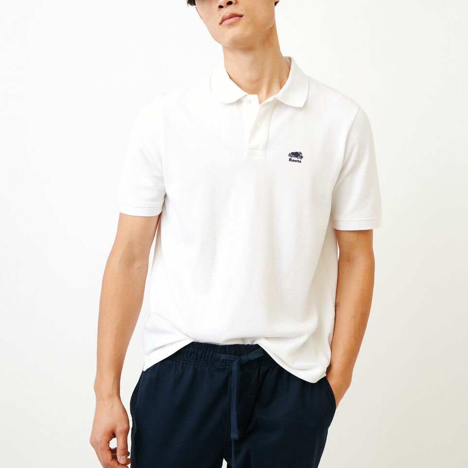 Roots-Men Bestsellers-Heritage Pique Polo-White-A