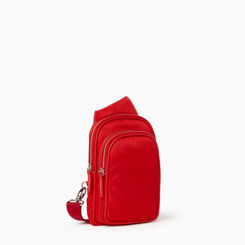 Roots-Leather  Handcrafted By Us Handbags-Trinity Sling Nylon-Red-A