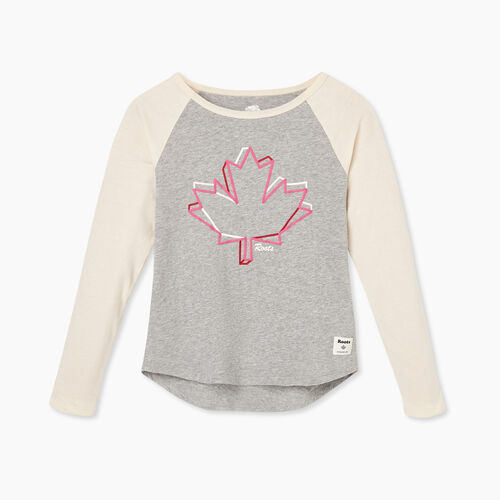 Roots-Kids Girls-Girl Canadian Maple T-shirt-Grey Mix-A