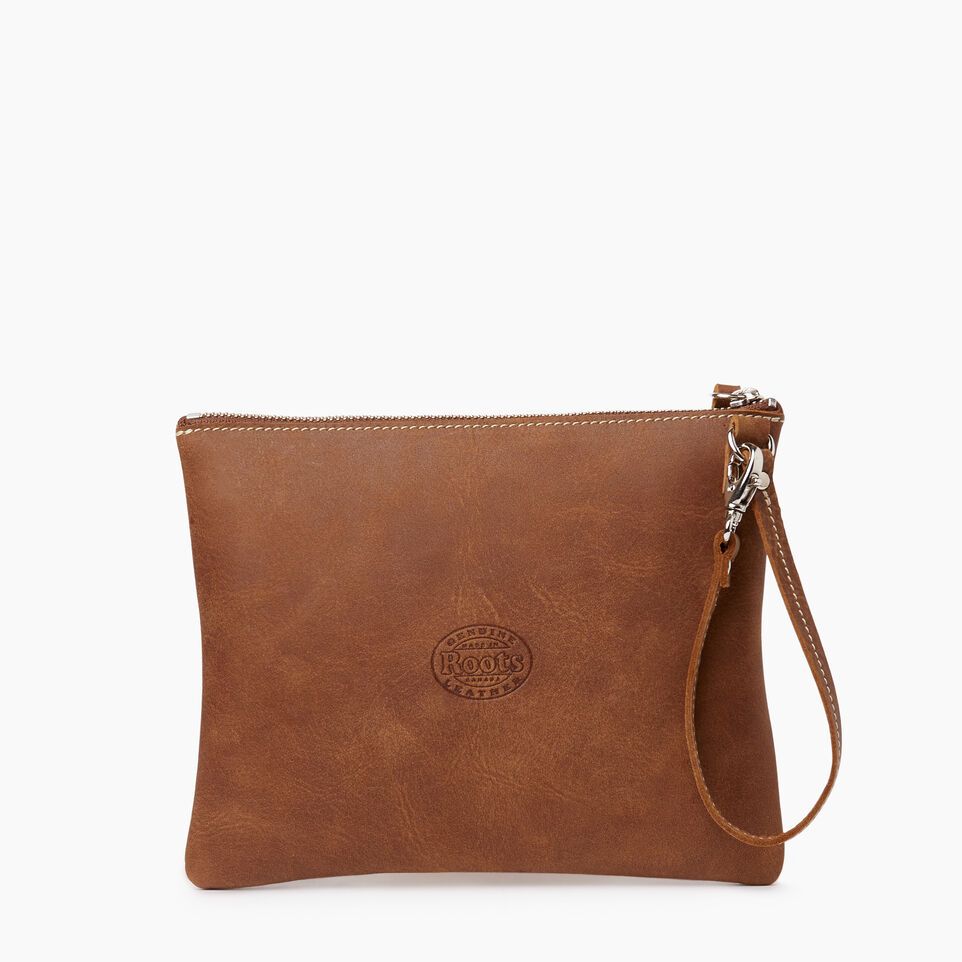 Roots-Leather Our Favourite New Arrivals-Double Zip Wristlet-Natural-C