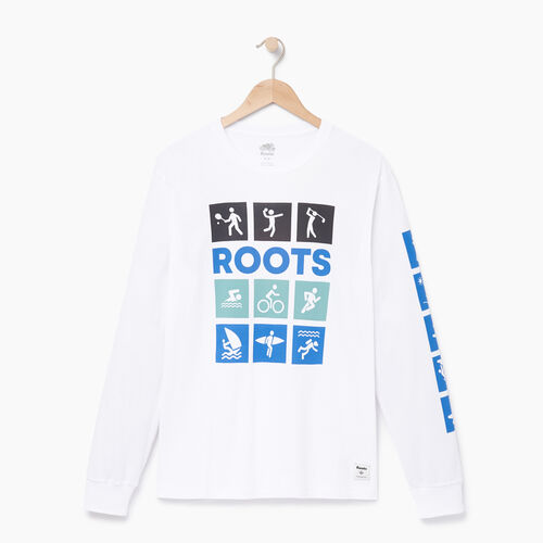 Roots-Clearance Tops-Mens Roots Outdoors Long Sleeve-Crisp White-A