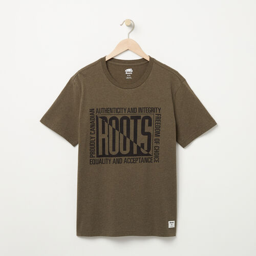 Roots-Men Graphic T-shirts-Mens Roots Eighties T-shirt-Tarmac Mix-A