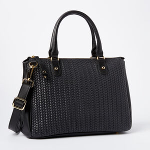 Roots-Leather Shoulder Bags-Small Grace Bag Box/Woven-Black-A
