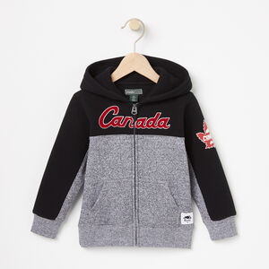 Roots-Kids Canada Collection-Toddler Heritage Script Full Zip Hoody-Black-A
