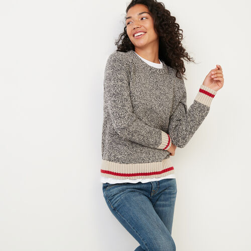 Roots-Women Sweaters & Cardigans-Roots Cotton Cabin Sweater-Grey Oat Mix-A