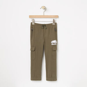 Roots-Kids Bottoms-Toddler Heavyweight Jersey Utility Pant-Dusty Olive-A
