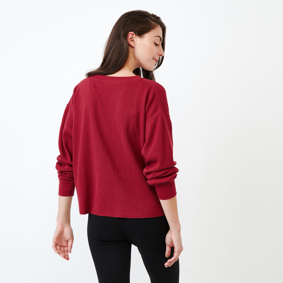 Roots-Women Clothing-Kinuso Waffle Top-Tibetan Red-D