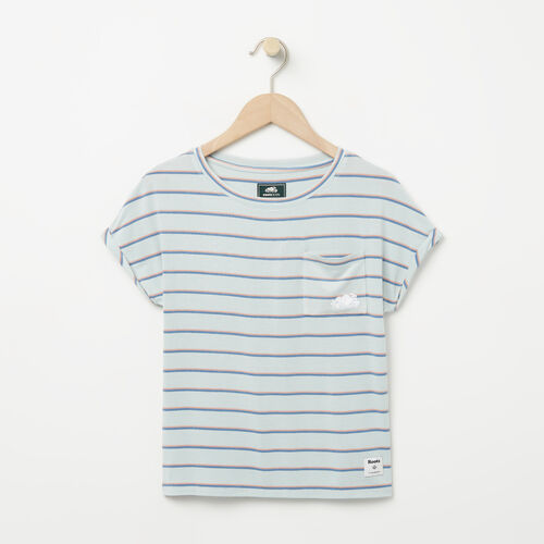 Roots-New For April Kids-Girls Stripe Pocket Top-Chambray Blue-A