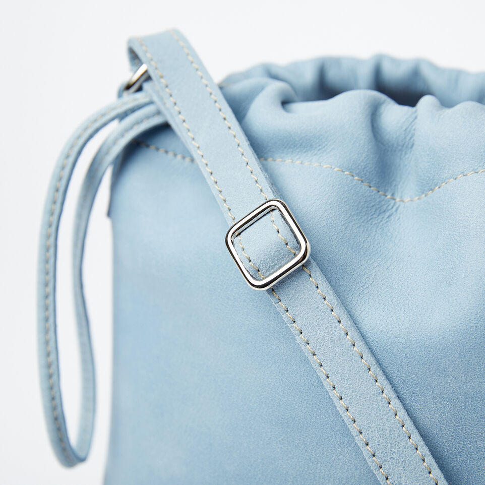 Roots-Clearance Leather-Mini Drawstring Bag Tribe-Faded Denim-D