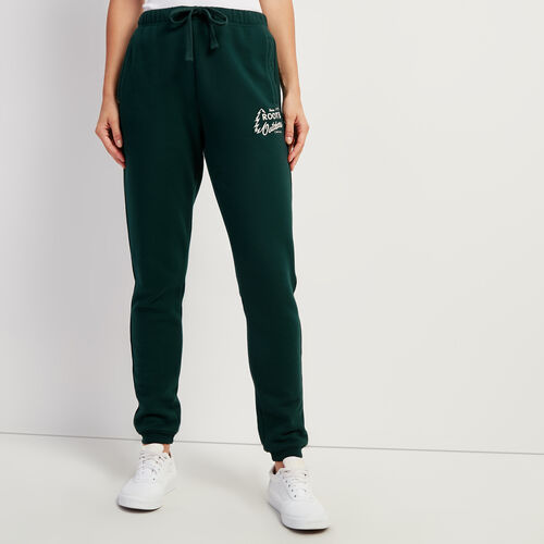 Roots-Women Bottoms-Outdoors Slim Cuff Sweatpant-Varsity Green-A